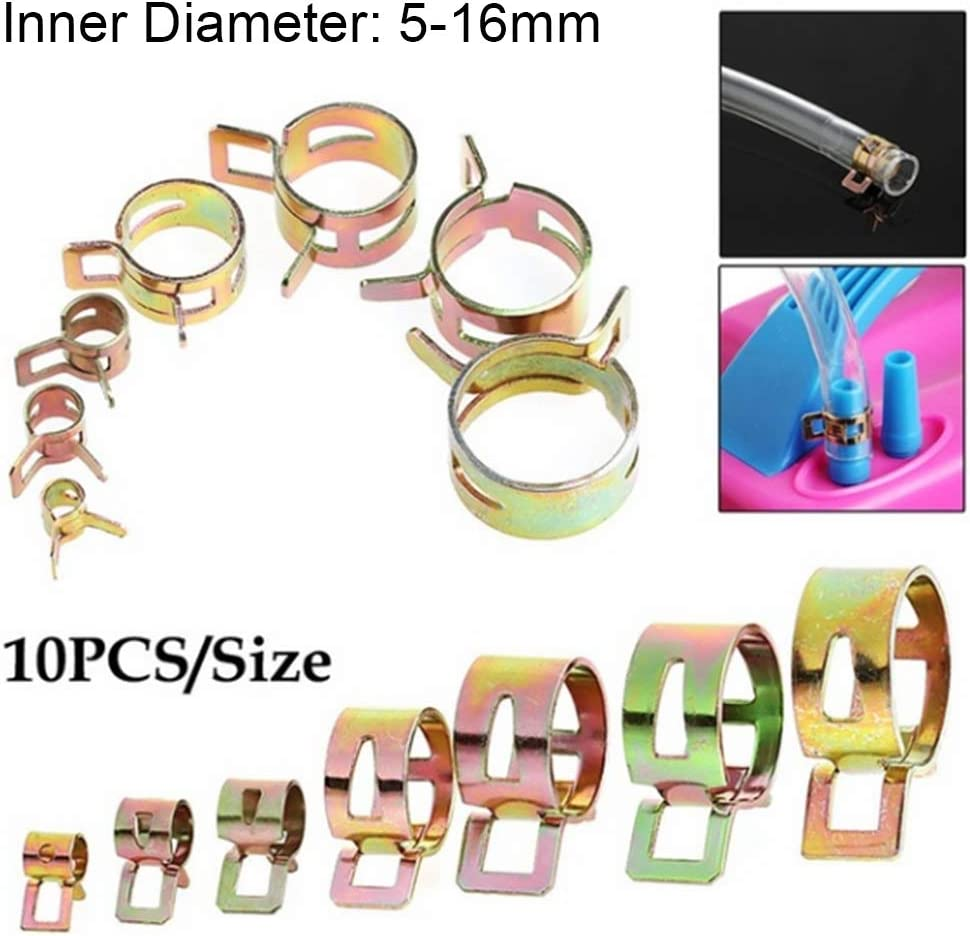 Spring Clips Stainless Steel 5-16mm Fastener Fuel Oil Line Water Hose Pipe Tube Clamp-10Pcs 8mm