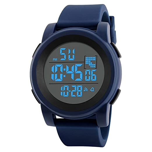 520ec23f1 COOKI Men's Digital Sports Watch LED Screen Large Face Military Watches and  Waterproof Casual Luminous Stopwatch Alarm Simple Army Watch,Mens Watches  on ...