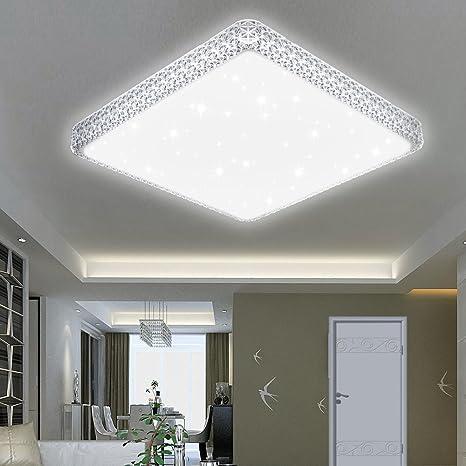 50W LED Deckenleuchte Deckenlampe Sternen Himmel Beleuchtung Weiß Eckig Badlampe