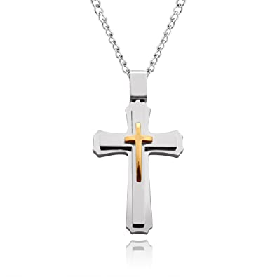 Cross necklace for men women with large pendant and 24 inch chain cross necklace for men women with large pendant and 24 inch chain in gift box mozeypictures Image collections