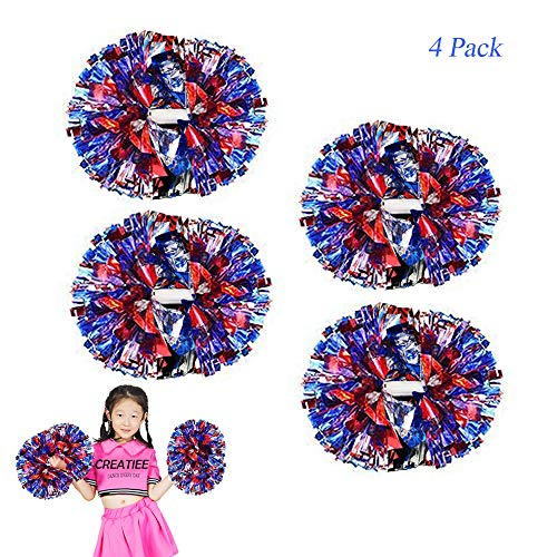 Creatiee-Pro 4Pcs Metallic Cheerleading Cheerleader Pom Poms, 1 Pair Cheering Squad Pompoms for Kids Boy Girl School Sports Games Team Spirit Cheer Ball Dance Party(11 Inches) (Blue-Silver-Red)