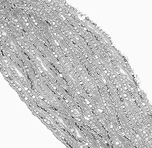 Clear Crystal Silver Lined Czech 8/0 Glass Seed Beads 1 Full 12 Strand Hank Preciosa Jablonex