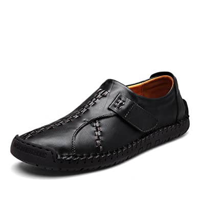 Shoes Mens Casual Shoes Outdoor Exercise Sneakers Flat Loafers Leather (Color : Dark Brown Size : 42)