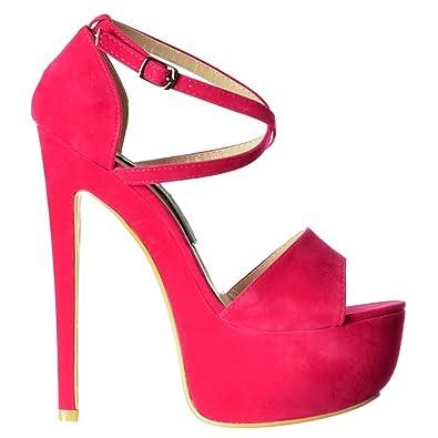 d6a027fbd524 Onlineshoe Women s Ladies Strappy Cross Over Pastel Stiletto Platform High  Heel Party Shoes - Mint Suede