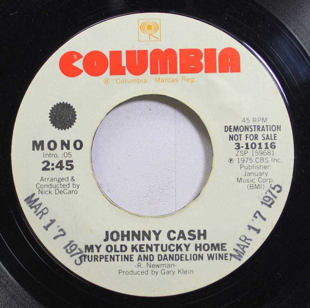 Johnny Cash 45 RPM My Old Kentucky Home / My Old Kentucky Home