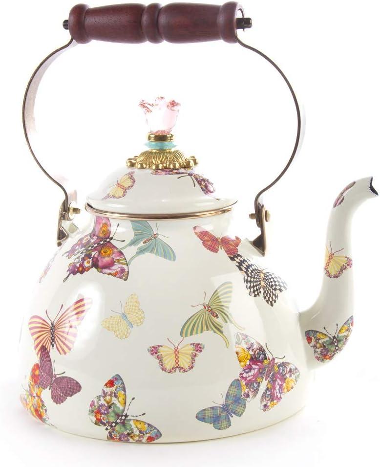 MacKenzie-Childs Butterfly Garden Enamel Tea Kettle, Floral Tea Kettle, 3-Quart