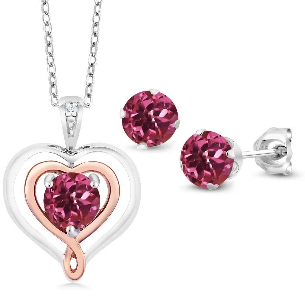 925 Silver and 10K Rose Gold 1.51Ct Pink Tourmaline Diamond Pendant Earrings Set