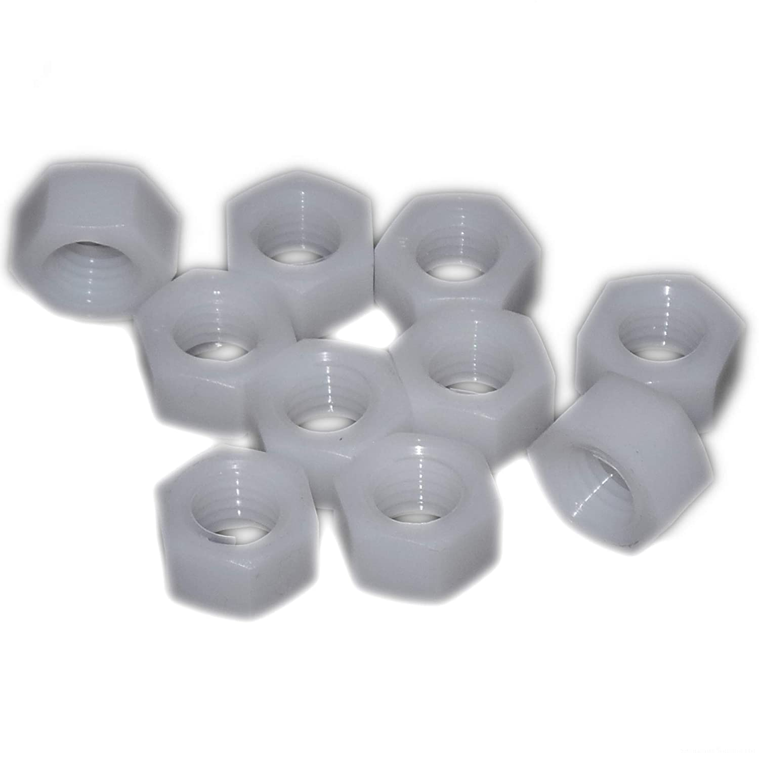 Natural Nylon Hex Nut Pack of 10 8mm M8