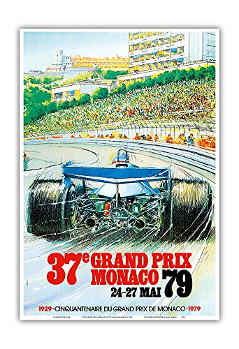(37th Grand Prix Monaco 1979 - Formula One Auto Racing - Vintage Sports Poster by Alain Giampaoli c.1979 - Master Art Print - 13in x 19in)