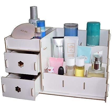 97fcb0ae651f Fashion DIY Wooden Makeup Organizer Jewelry Cosmetics Storage Organizer  Double Drawer Collection Storage Box Desktop Box