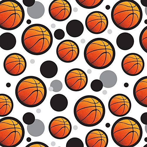 Premium Gift Wrap Wrapping Paper Roll Pattern - Basketball - Ball on Black for $<!--$19.99-->