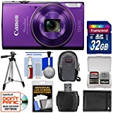 Canon PowerShot Elph 360 HS Wi-Fi Digital Camera (Purple) with 32GB Card + Case + Battery + Tripod + Kit