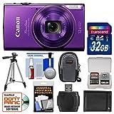 Canon PowerShot Elph 360 HS Wi-Fi Digital Camera (Purple) with 32GB Card + Case + Battery + Tripod + Kit
