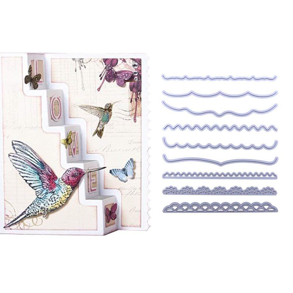 9 teile//satz Dekorative Karten Kanten Stanzformen Schablone F/ür Diy Scrapbooking Album Pr/ägepapier Karten Deco Handwerk Stanzungen Locher Schablone