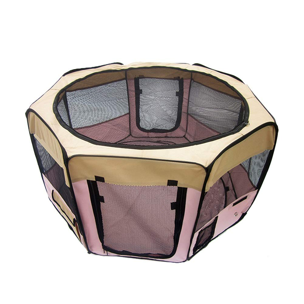 37×37×93cm Easy Folding Pet Playpen, 8 Panels Oxford Fabric Indoor Animals Exercise Playyard, Habitats for Small Animals  Pink color (Size   37×37×93cm)