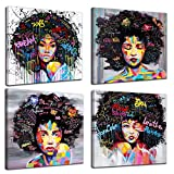 4 Panels African American Canvas Bedroom Home Decor Decal Wall Art Canvas Painting Graffiti Abstract...