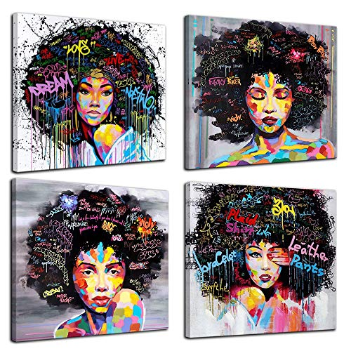 (4 Panels African American Canvas Bedroom Home Decor Decal Wall Art Canvas Painting Graffiti Abstract Style Poster Print Painting Decoration Living Room Simple Framed Ready to Hang(16''x16'', 4 Panels))