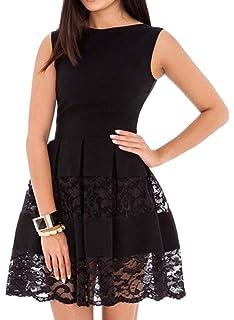 a3ea40125f7e SUNNOW Women's Sleeveless Lace Patchwork A Line Short Mini Casual ...