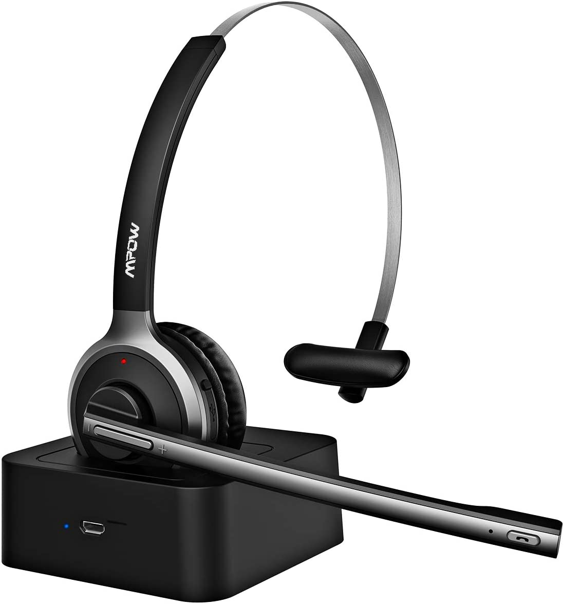 Mpow M5 Pro Bluetooth Headset, Advanced Noise Cancelling Microphone, Strong BT Signal, Comfort-fit Truck Driver Headset with Charging Base, Hands-Free Wireless Headphones for Skype Call Center Office