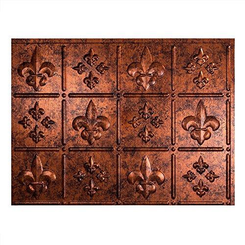 Backsplash Copper (Fasade Easy Installation Fleur de Lis Moonstone Copper Backsplash Panel for Kitchen and Bathrooms (18