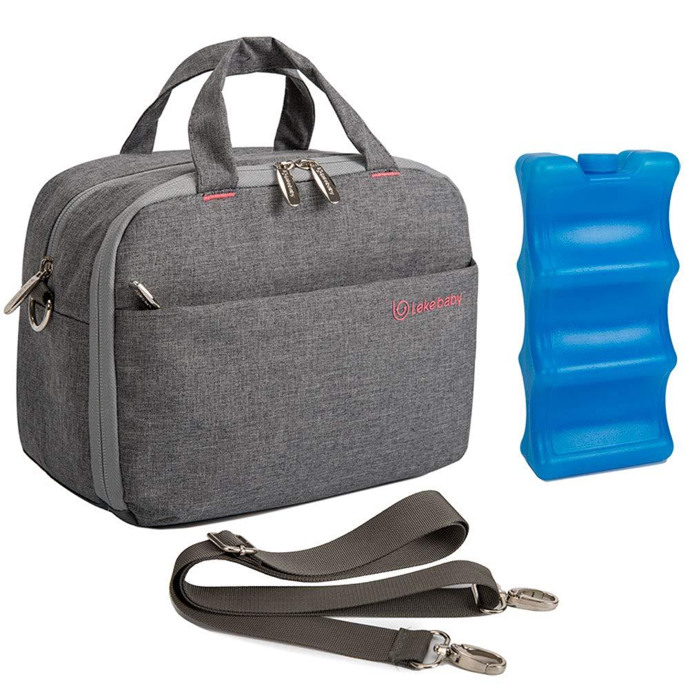 Lekebaby Breast Milk Cooler Bag with Contoured Ice Pack Fits 6 Breastmilk Baby Bottles Cooler Tote Bag for Nursing Mothers, Grey by Lekebaby