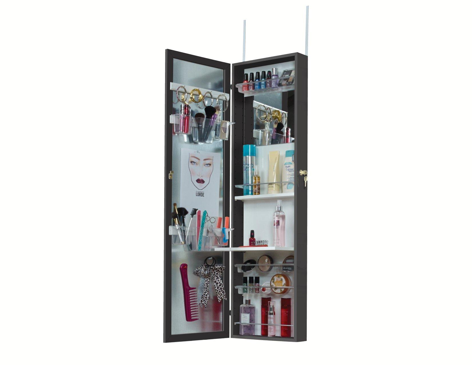 Mirrotek COSM48V2BK Upgraded Cosmetic Storage Armoire, Black