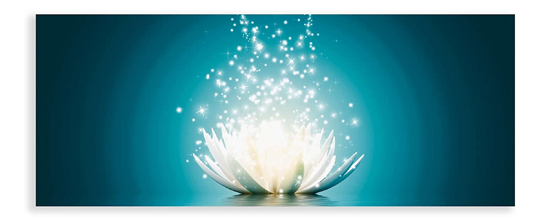 Artland Qualitätsbilder I Glasbilder Magie der Lotus-Blume Deko Glas Bilder 125x50 cm Botanik Blumen Seerose Digitale Kunst Blau D8QG türkis
