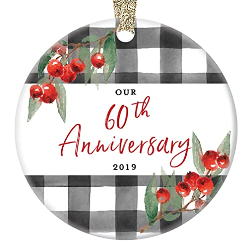 60th Wedding Anniversary Ornament 2019 Christmas Holiday Present Grandparents Mom Dad Parents 60 Year Marriage Keepsake Celebrating Sixty Years
