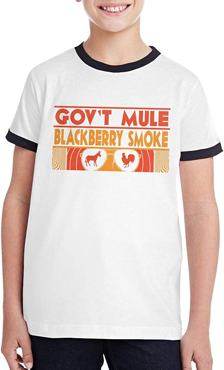 Govt Mule and BlackBerry Smoke Teen Boys and Girls Popular Short Sleeve T Shirt Classic Fit