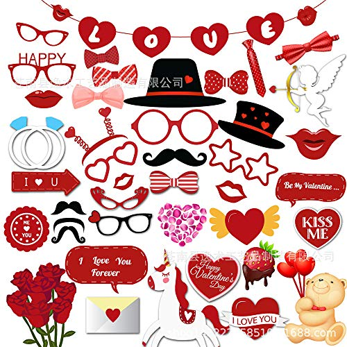 Valentines Photo Booth Props and Banner 45pcs Valentines Day Decorations - Wedding Decor- Anniversary Decorations Props (Red) for $<!--$8.99-->