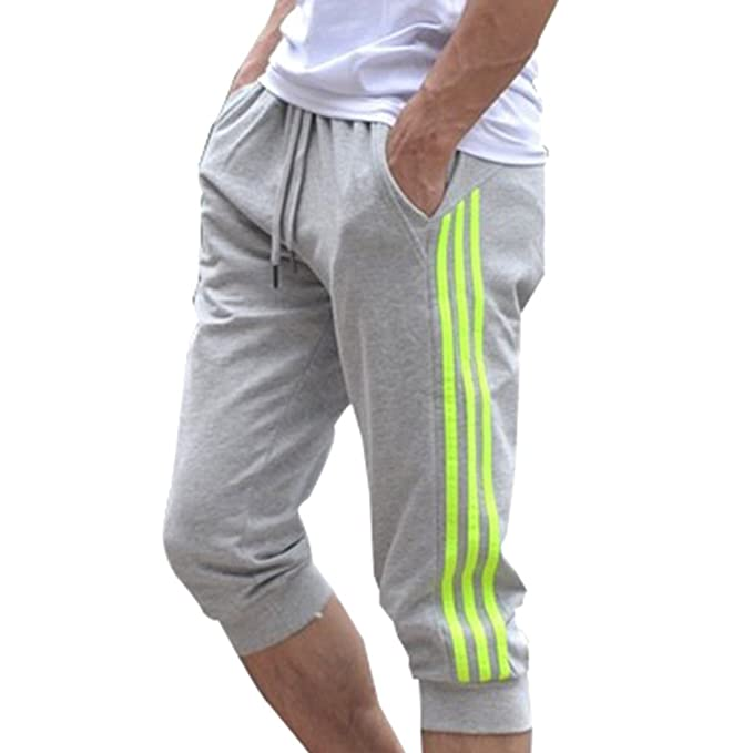 ab7ad5653471e Juleya Pantalones Deportivos Deportivos para Hombres Pantalones Cortos 3 4  Pantalones Cortos Pantalones Deportivos Deportivos de algodón M-2XL  Amazon. es  ...