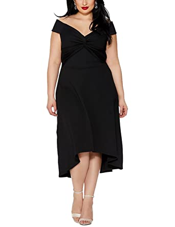 2106cba7d2289 Lalagen Womens Plus Size Off Shoulder High Low Swing Flare Cocktail Party Dress  Black XL