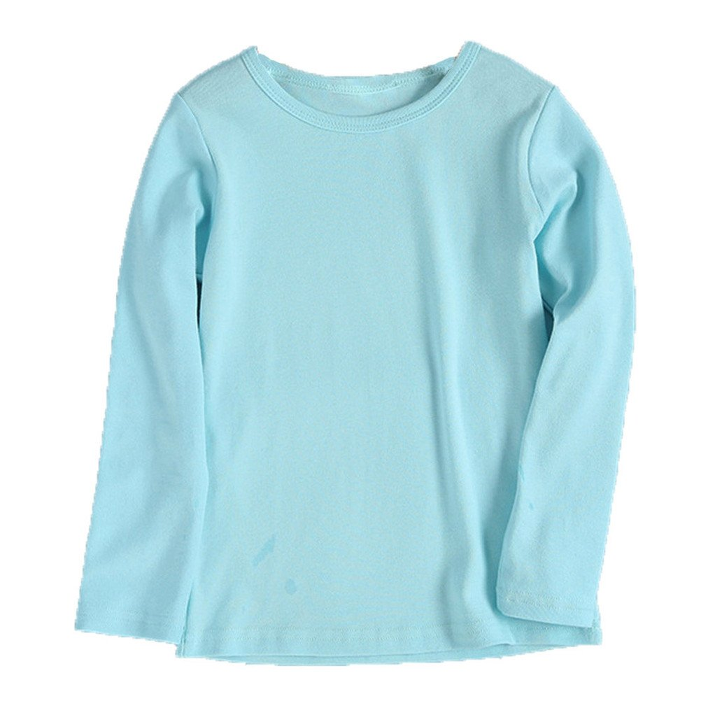 LandFox Cute Boy Girl Round Collar Long Sleeve Candy Clour Tops T-Shirt