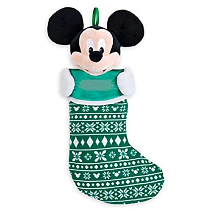 Disney Store Mickey Mouse Christmas Stocking Plush Head Green 2015 New