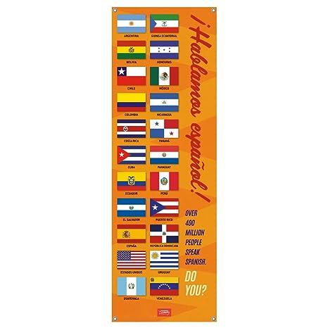 amazon com we speak spanish flags vinyl banner office products