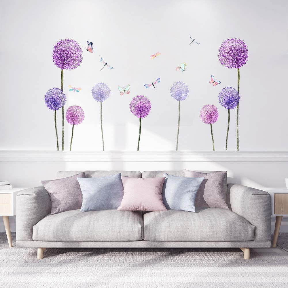 Supzone Purple Dandelion Wall Stickers Colorful Butterfly Wall Sticker Flower Dragonfly Wall Decor Self-Adhesive Vinyl Wall Art for Bedroom Sofa Living Room Waterproof Mural Home Decoration