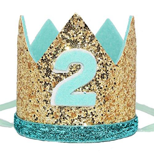 (Maticr Shiny Tiny 2nd 3rd Birthday Crown Baby Boy Prince Headband Party Supplies (Gold Mint)