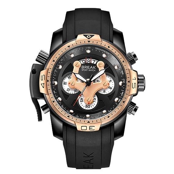 acca19fbc01 BREAK Men Casual Military Unique Sport Big Face Watches with Rubber Strap  Chronograph Quartz Waterproof Top