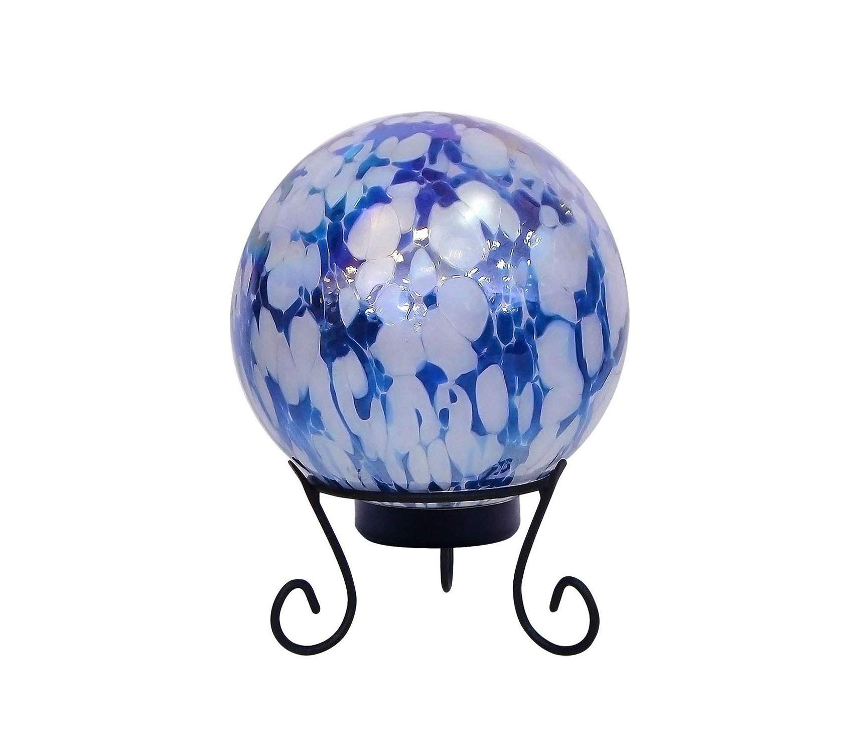 Outdoor Garden Backyard Décor Gazing Globe with LED Light, 10 Inch Tall Blue and White