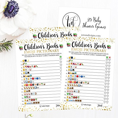 25 Emoji Children's Books Pictionary Baby Shower Game Party Ideas For Quiz Boy, Girl, Kids, Men, Women and Couples, Cute Classic Bundle Pack Set, Gold Pink or Blue Gender Neutral Unisex Fun Coed Cards by Hadley Designs (Image #3)