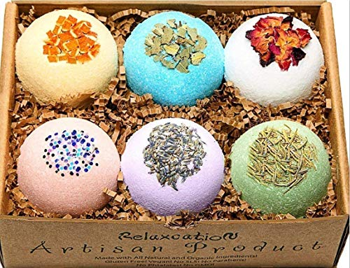 Bath Bombs All Natural Gift Set with Epsom Salt/Bath Bombs Bubble Bath Safe for Kids - Bath Bomb For Women Relaxation with Dead Sea Salt - Natural and Safe Bath Bombs Set ? Bath Bombs Kit for Her