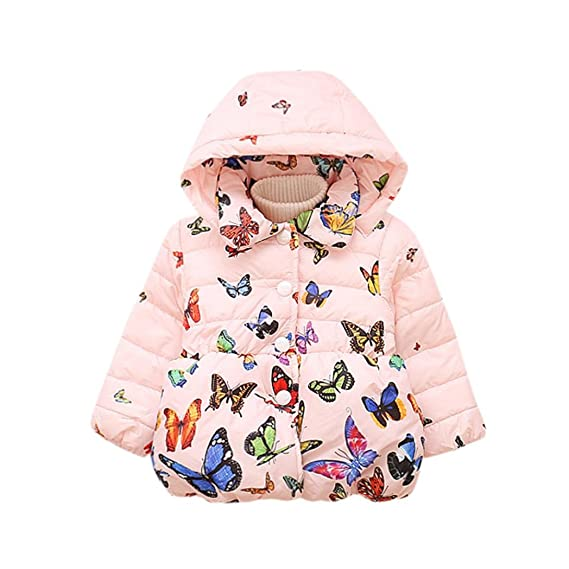 83cba216 Vovotrade® Toddler Girls Winter Hooded Butterfly Print Coat Infant Baby  Cotton Long Sleeve Thick Cloak Jacket Warm Clothes (90 (12-18months), ...