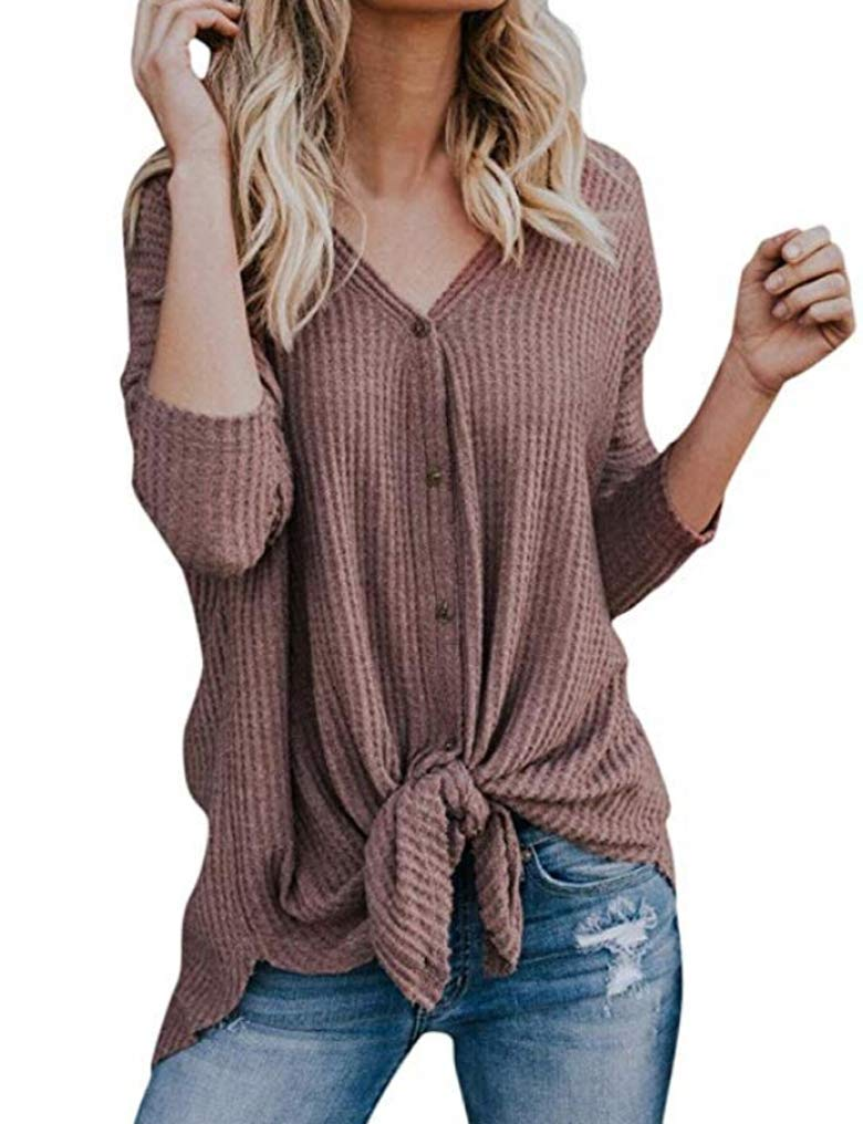 Womens Loose Long Sleeve Button Details T Shirts Tie Front Knot Casual Tops Blouse Pink L by LuckyMore (Image #1)