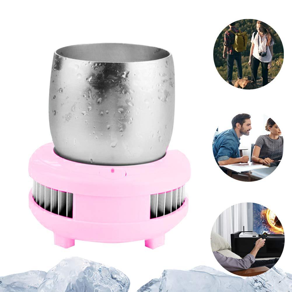 Instant Cooling Cup Cooler - Beer Beverage Electronic Refrigeration Cooler,Wine Fridge Soda Drinks Bar Fast Cooling Refrigeration Cup pink