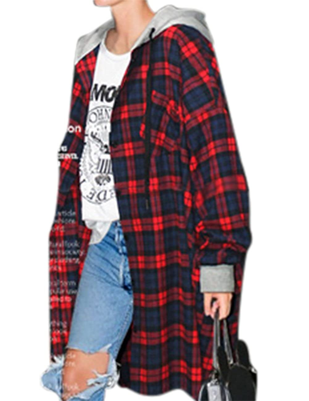 YesFashion Women's Vintage Plus Size Plaid Hooded New Look Loose Coat IM-YLDI-JVT3
