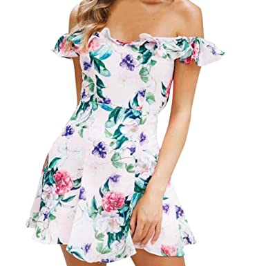 64219eecd276 VEMOW Womens Dresses Sexy Vintage Girls Printing Knielang A-Line Loose  Summer Off Shoulder Sleeveless