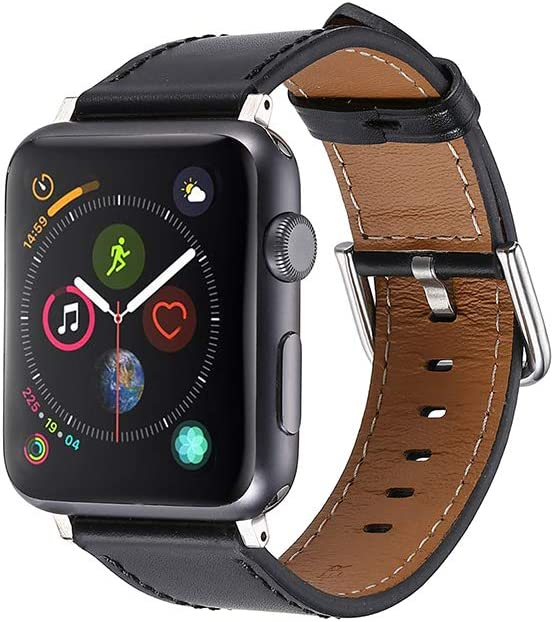 Faytop Compatible for Apple Watch Band 42mm 44mm Men & Women's Genuine Leather Watch Strap for Apple Watch Series 5/4(44mm) Series 3/2/1(42mm) Sport and Edition,Black Silver