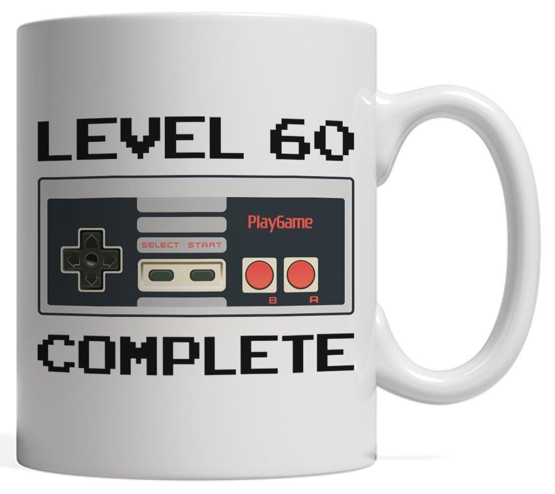 レベル60完了、ゲーマー誕生日マグ|ビデオゲーム恋人コントローラギフト誕生日記念日 – Sixty 60年古い、大人、叔父Aunt   B07D916VBK