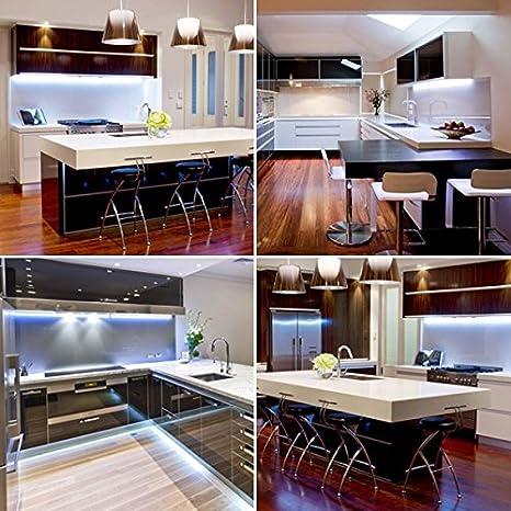 on sale e13d9 b20fa Cool White LED Strip Light Set for Kitchens, Under Cabinet Lighting, Plasma  TV, Home Lighting, etc.. (Set of 4 x 50cm LED Strips with link cables, ...