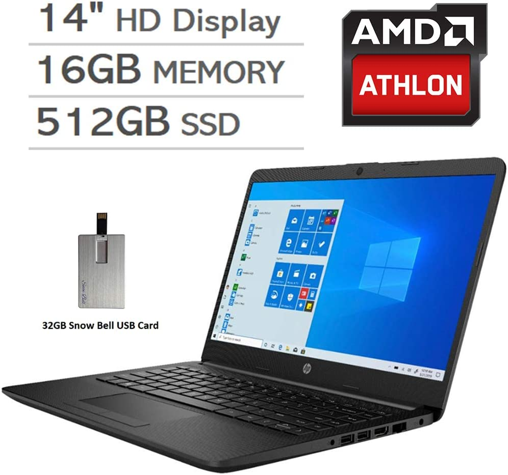 "2020 HP Pavilion 14"" HD LED Laptop Computer, AMD Athlon Silver 3050U Processor, 16GB RAM, 512GB SSD, AMD Radeon Graphics, USB-C, Stereo Speakers, Webcam, Win 10, Black, 32GB Snow Bell USB Card"